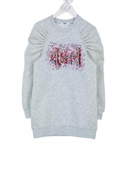 MSGM Kids Sweatkleid mini Strass grau